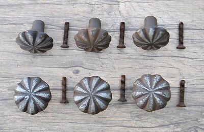 VTG 6pc Victorian Floral Cast Iron cabinet drawer door Knobs handles pull rustic