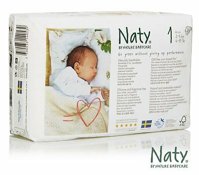 Naty by Nature Babycare Newborn ECO Nappies - Size 1, 4 x Packs of 26 104