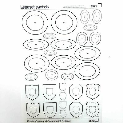 NEW & UNUSED SHEET LETRASET INSTANT RUB ON TRANSFERS Ovals, Crests & Shields