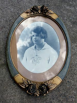 Superb Large Antique / Vintage French Oval Picture Frame with Original Photo