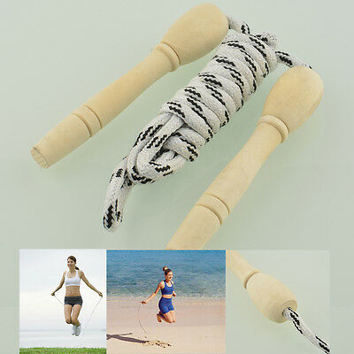 Sports Skipping Rope Wood Grip Handle Fitness Exercise Speed Jump 2.6M