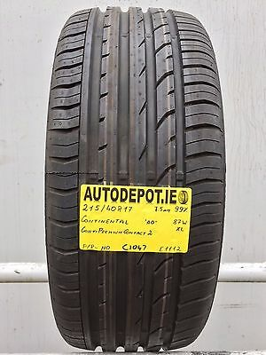 215/40R17 CONTINENTAL PREMIUM CONTACT 2 AO 87W XL Part worn tyre (C1047) AS NEW