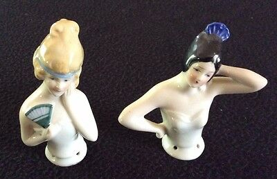 Antique German Porcelain Pin Cushion Half Doll Flapper Figurines - lot of 2