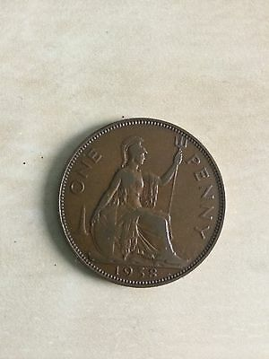 1938  - Copper - One Penny - Great Britain - King George VI - English UK Coin