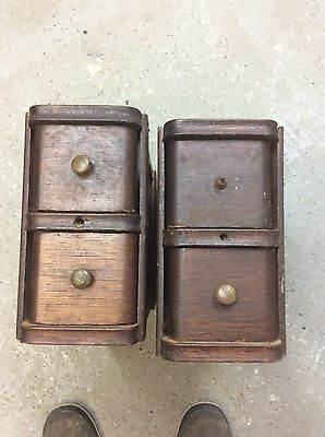 Pair 2 Set Antique Singer Treadle Sewing Machine 2 Drawers With Frames