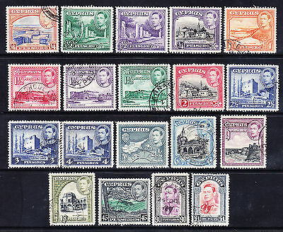 CYPRUS 1938 George VI SG151/63 set of 19 - fine used. Catalogue £55