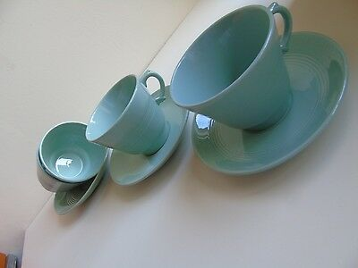 4 Wood's Ware 'Beryl' Large Breakfast Cup & Saucers c.1930's (Deco)