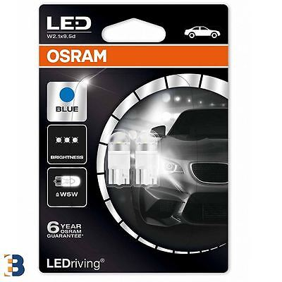 2x OSRAM LEDriving W5W 501 12V W2.1x9.5d Ice Blue 6800K Wedge Bulbs 2850BL-02B