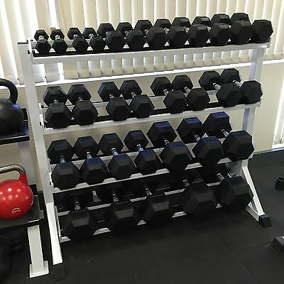 Hex Dumbbell Set 5-40kg (8 pairs) with 4 Tier Rack