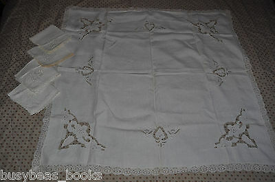 TABLECLOTH & NAPKINS (4) Set, handmade, pierced work candlewicking