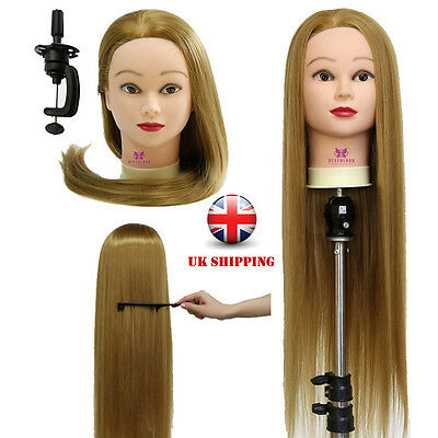"""26"""" Salon Hairdressing Styling Training Practice Head Mannequin Doll + Clamp UK"""