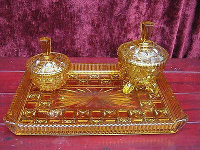 vintage amber glass tray and trinket pots