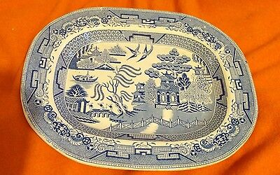 W S Jr & Co Large Willow Pattern Antique Platter