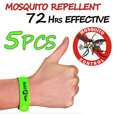 5 Anti Mosquito Repellent Bracelet Wristband Bands travel Insect Camping Ankle