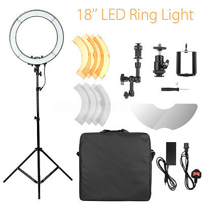18'' 5500K Dimmable LED Adjustable Ring Light With Diffuser Tripod Stand Mirror