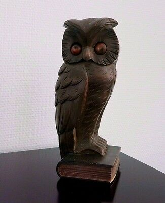 Rare Oswald Art Deco Germany_Antique Rollng Eye Clock_Owl & Book_Carved Wood