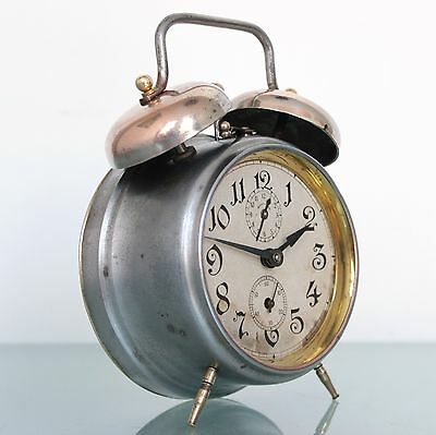 JUNGHANS Alarm SPECIAL TOP Clock Antique DOUBLE BELL Mantel 1920s Germany Mantel