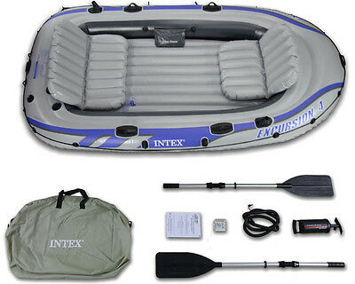 Intex Excursion 4 Boat Set + Pump + Oars 4 Person Inflatable Dinghy Raft 68324