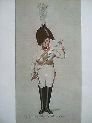 Vintage Military Print- Officer Of The Garde Du Corps Regiment Prussia 1806