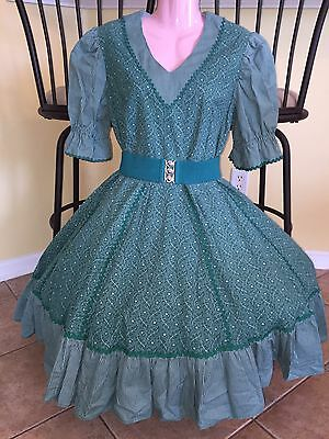 Square Dance 1 Pc Reduced Green Country Flower Dress -Medium