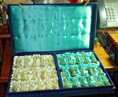Vintage-Chinese-Chess-Pieces-Set-in-Blue-Case-With Chess Board Jade?--Stone