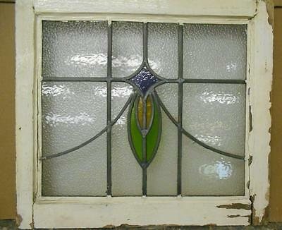 """OLD ENGLISH LEADED STAINED GLASS WINDOW Pretty Abstract Design 19.75"""" x 18.5"""""""