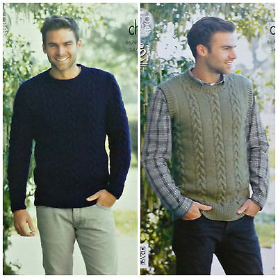 KNITTING PATTERN Mens Long Sleeve &Sleeveless Cable Jumper Chunky King Cole 4282