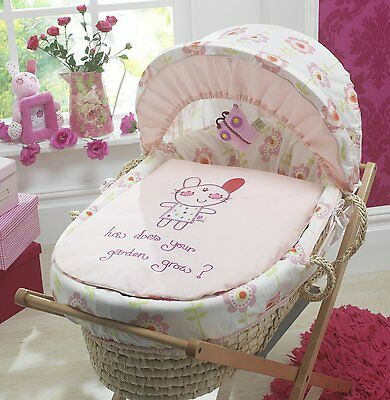 4pc pink girls Lollipop Lane Upsy Daisy moses basket dressing set new with toy
