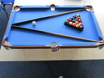 Tabletop Pool / Snooker Table With Full Set Of Balls And 2 Cues