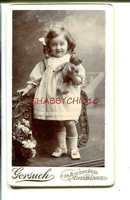 TEDDIE BEAR & Little Girl ADORABLE  1890s CDV Photograph