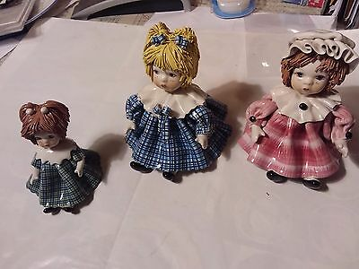 3 Made In Italy Spaghetti Hair Figurines- Signed Zampiva - 3 1/2 & 4 1/2 Inches