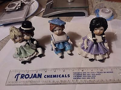 3 Made In Italy Spaghetti Hair Figurines - Signed Zampiva - 4 Inches