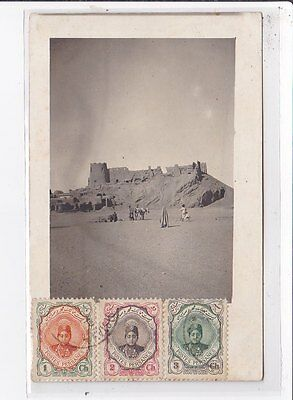 IRAN old postcard : ruine chateau, desert, personnages