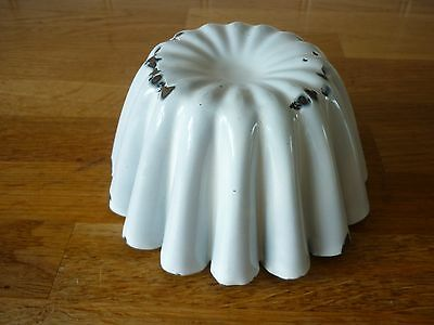 Antique White Jelly Mould Vintage Enamelware Jelly Mould