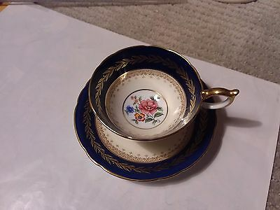 Aynsley Teacup And Saucer  - Cobalt Blue With Flowers