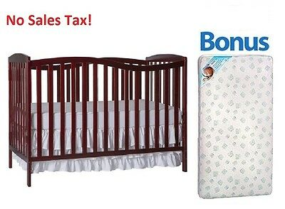 Convertible Baby Crib 5-in-1 With Bonus Mattress Chelsea Toddler Kid Nursery Bed