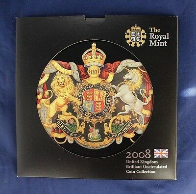 2008 Royal Mint 9 coin Uncirculated set in folder   (A10/37)
