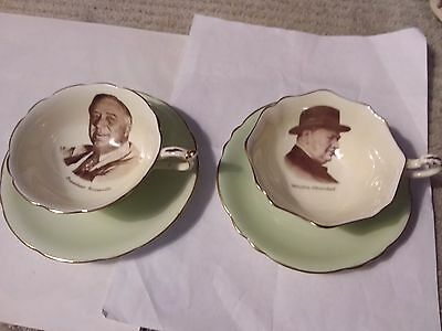 Two Teacups And Saucers - Patriotic Series  - Winston Churchill & Roosevelt