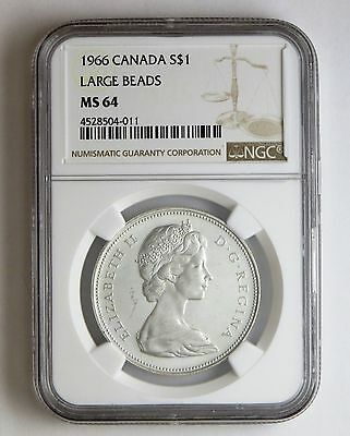 1966 S$1 Canada Silver Dollar Large Beads NGC MS 64 Business Strike