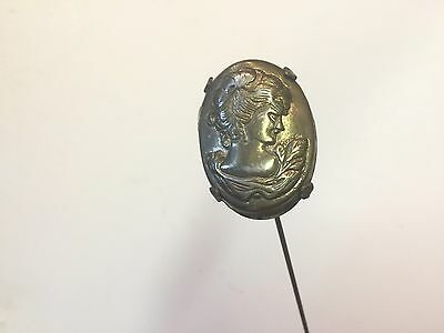 Cameo Hatpin Metal 3 Dimensional 9 1/2 inch shaft Head is 1 1 3/4 x 1 1/4