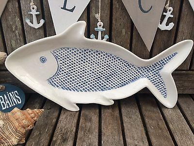 Ceramic Blue and White Fish Shaped Serving Plate / Platter