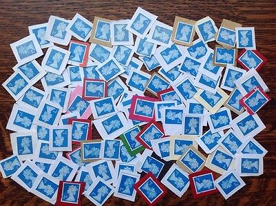 GB 100  2nd Class Unfranked blue Stamps On Paper (SECURITY TYPE)