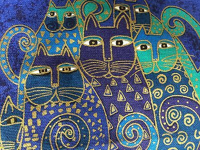 Vintage Cats Laurel Burch Make Up Pouch Bag Travel Cats Signed Tags Nwt Blue
