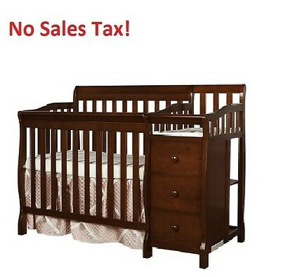 Convertible Baby Crib 4-in-1 Jayden Side Changer Toddler Nursery Full Size Bed