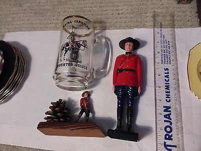 Two Rcmp Plastic Figurines & 1973 Commemoration Mug