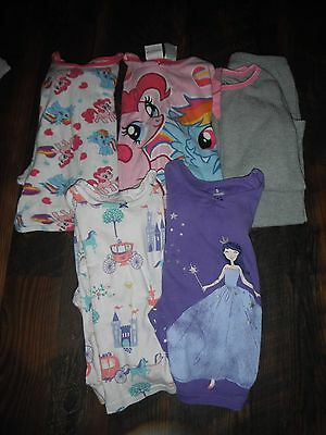Lot of 5 Pairs Girls Size 5/6 Two Piece Lightweight Pajama Sets