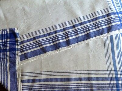 Vintage French Linen Blue And White Table Cloth