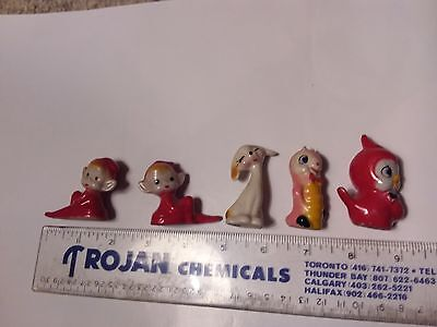 Two Elves , Dog,worm And Bird Figurines - Korea