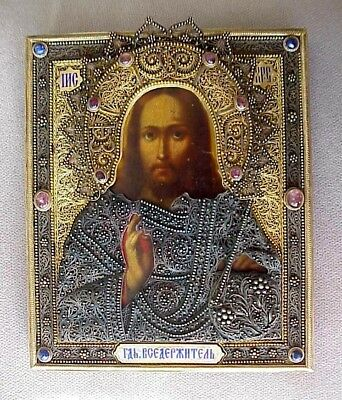 1850y // RARE RUSSIAN IMPERIAL ICON JESUS CHRIST GOD SILVER GOLD ENAMEL FILIGREE