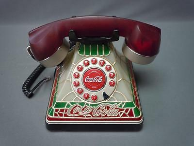 Vintage Design Coca Cola Tiffany Stained Style Glass Look Light Up Telephone
